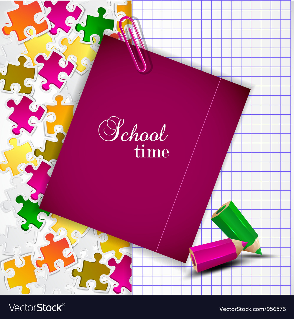 Exercise book and notes for text school time vector