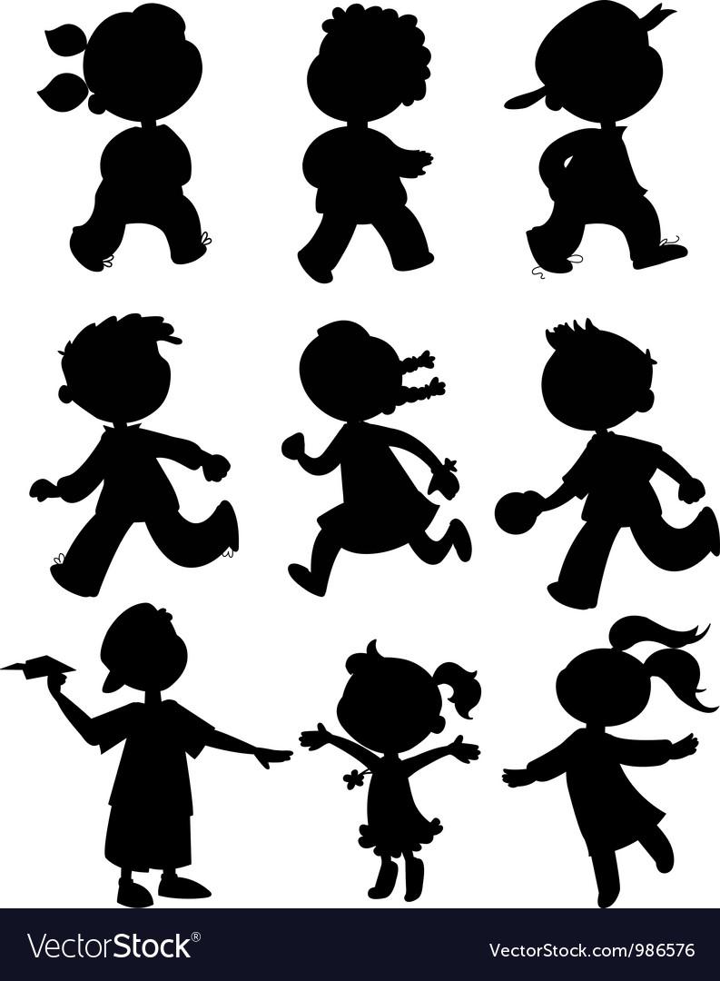 Nine kids black silhouettes vector