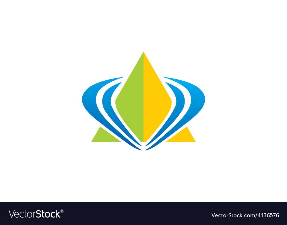 Pyramid triangle loop abstract logo vector