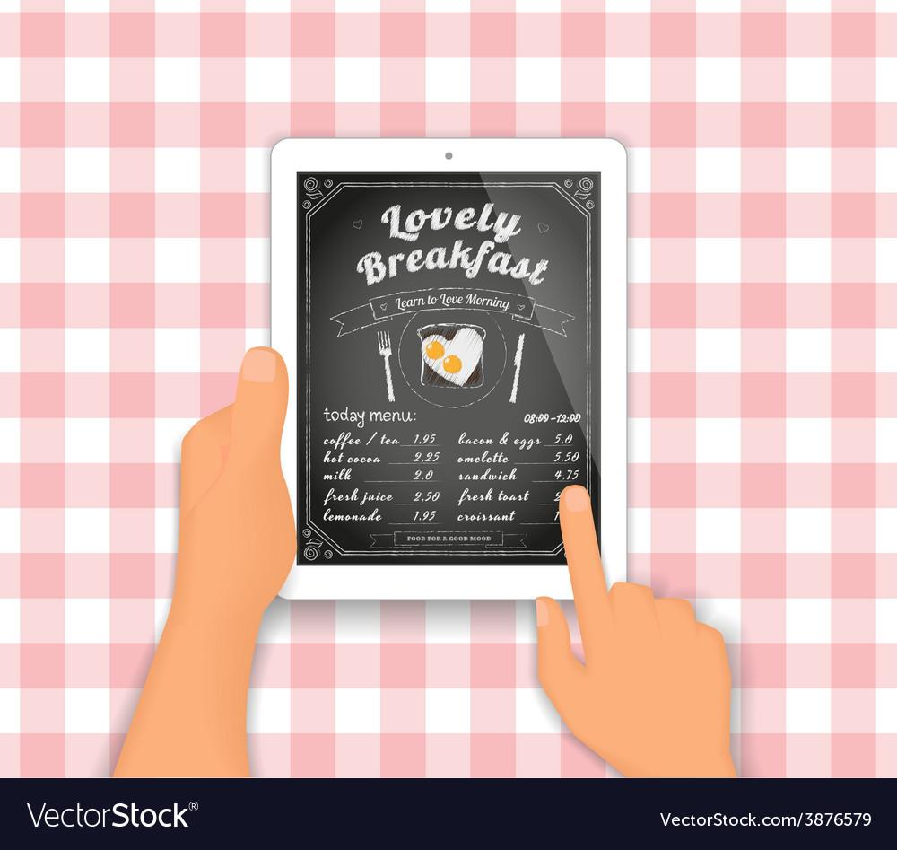 Breakfast menu on the tablet pc vector