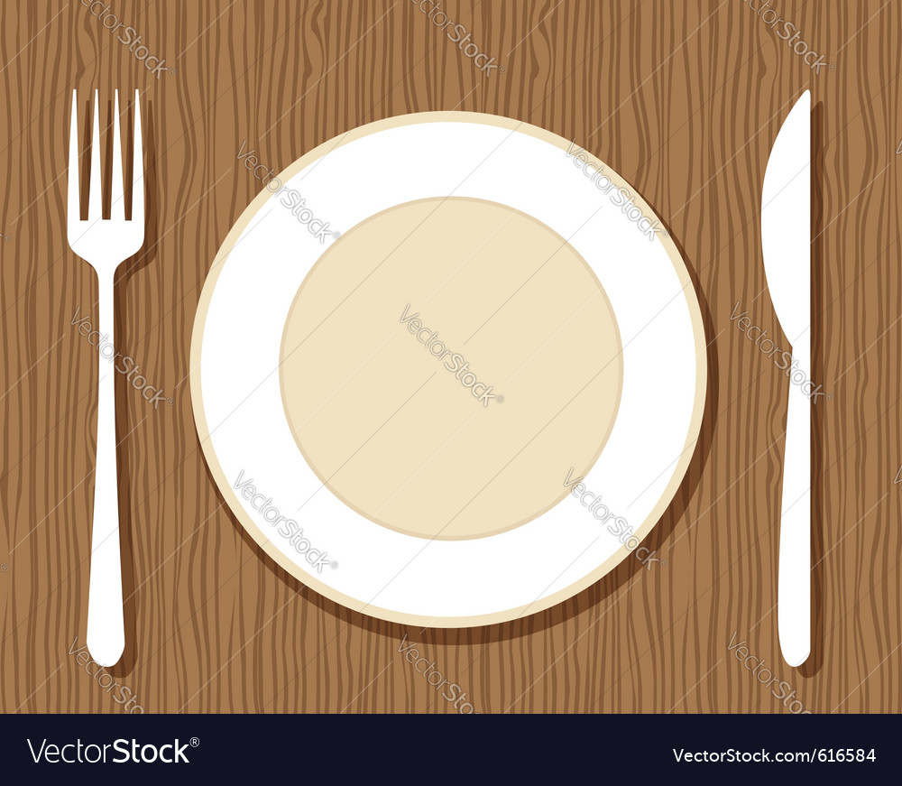 Plate with knife and fork vector