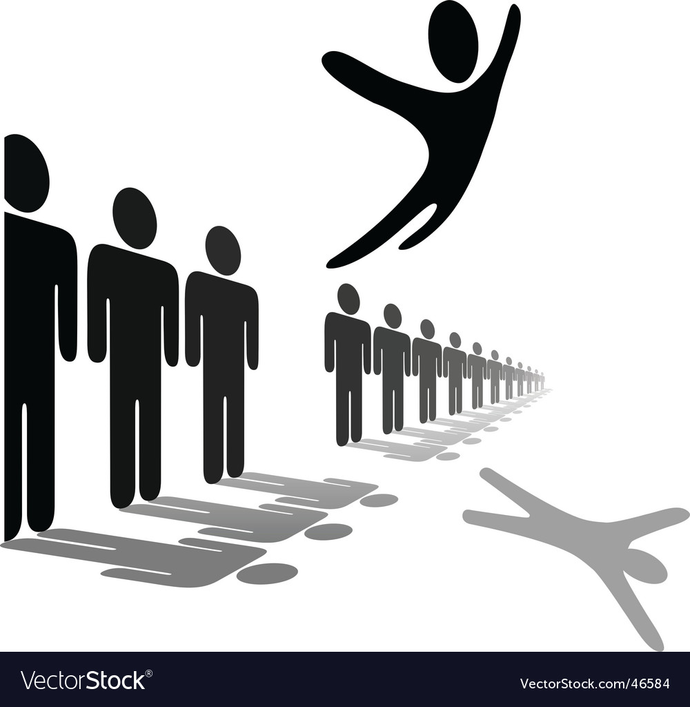 Symbol person leaps out vector