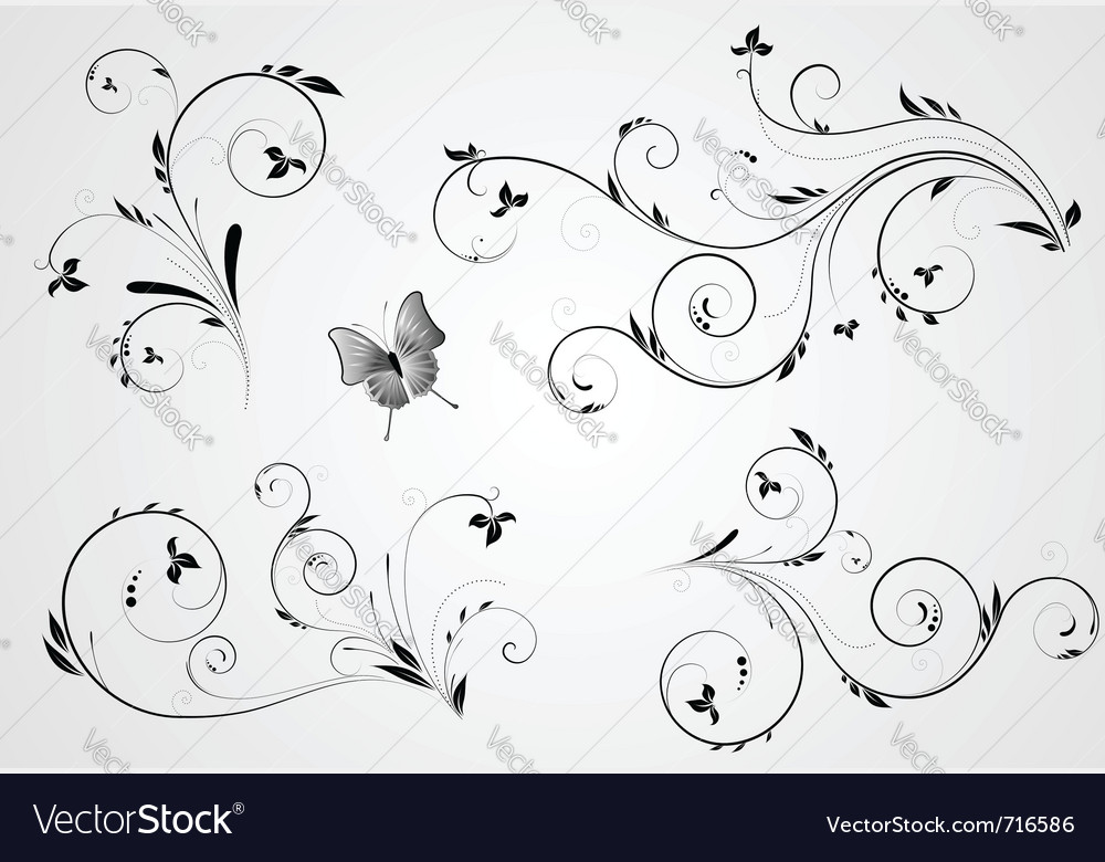 Set of floral design vector