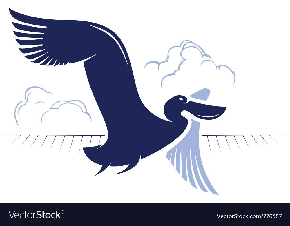 Flight bird logotype duck pelican vector