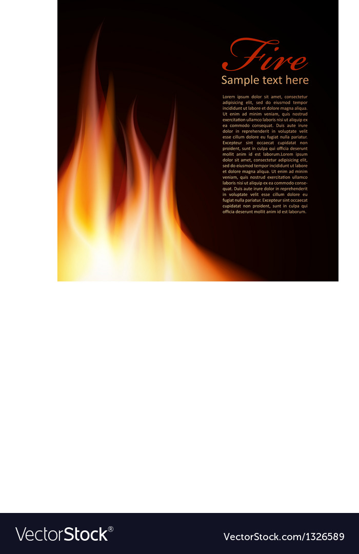 Fire background text design vector