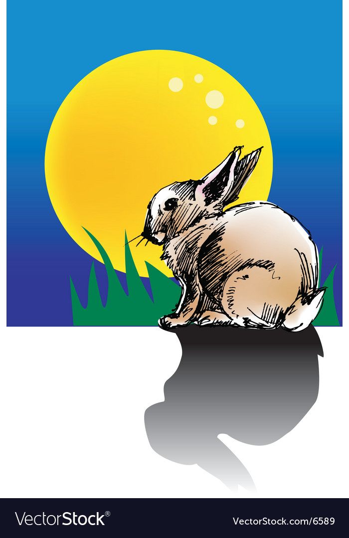 Rabbit moon vector