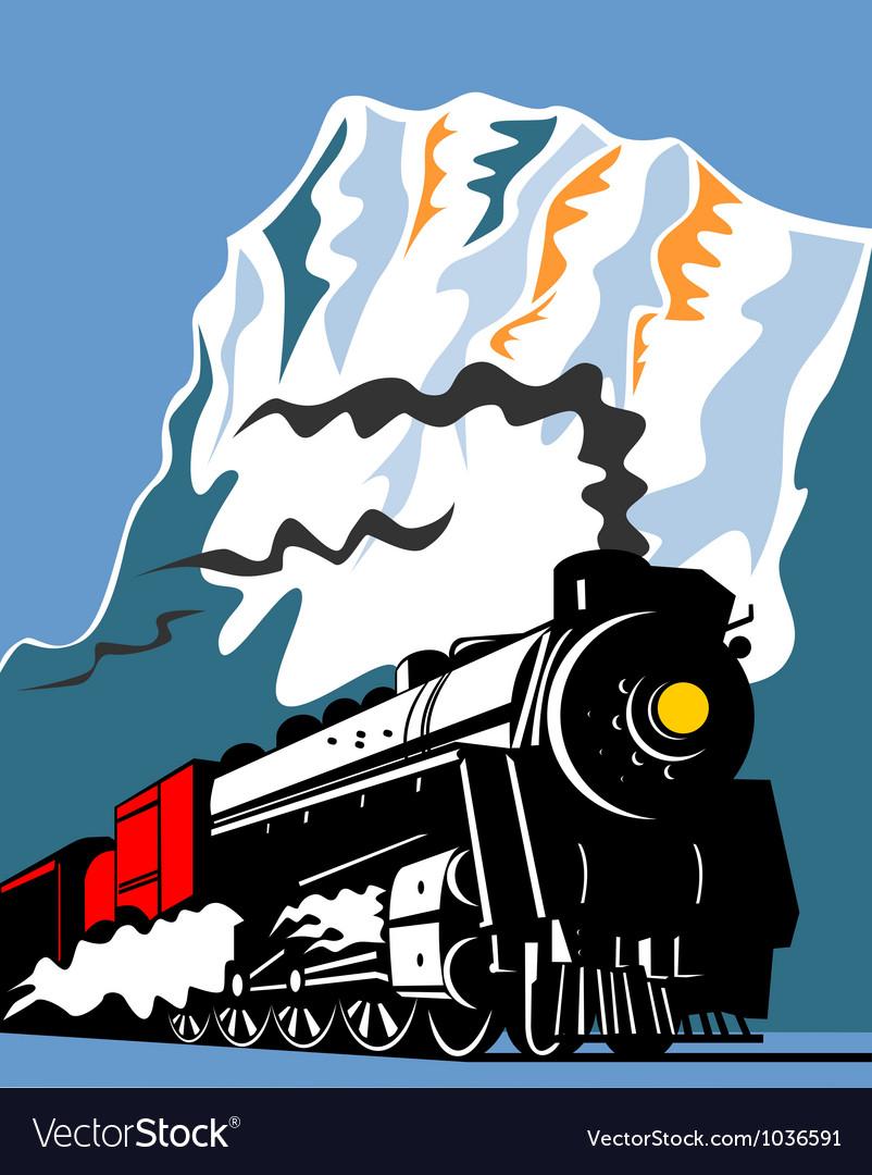 Vintage steam train locomotive retro vector