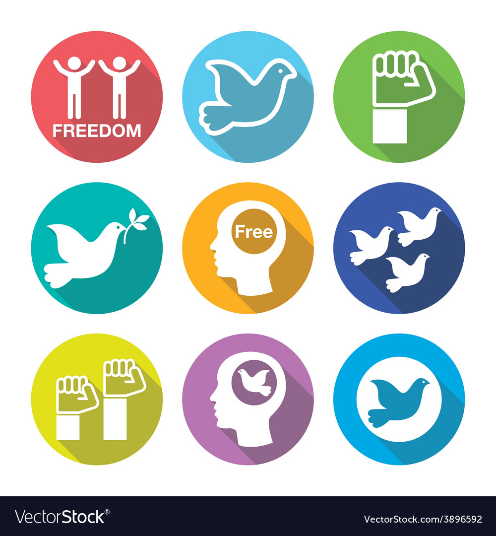 Freedom flat deign round icons set - dove and fist vector