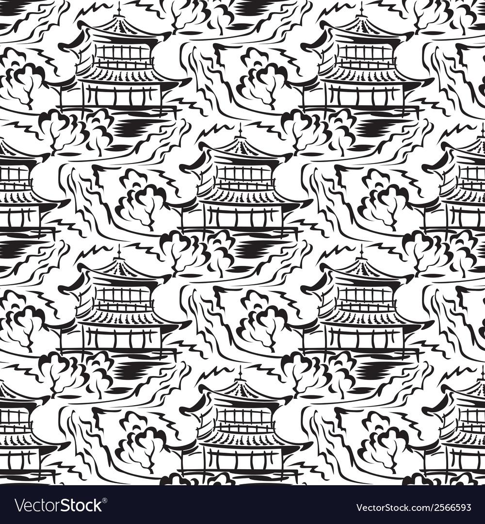 Asian temple seamless vector