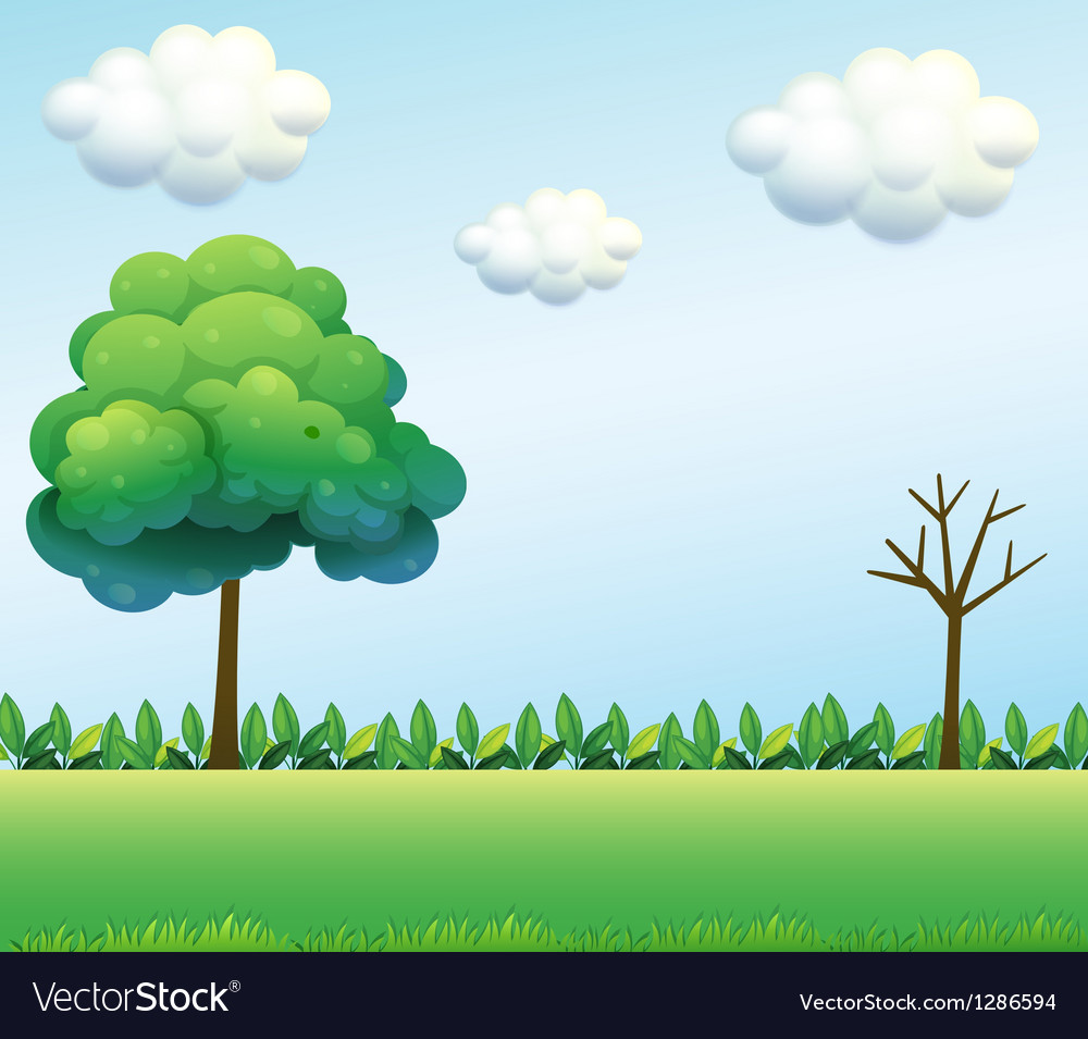 A green field scenery vector