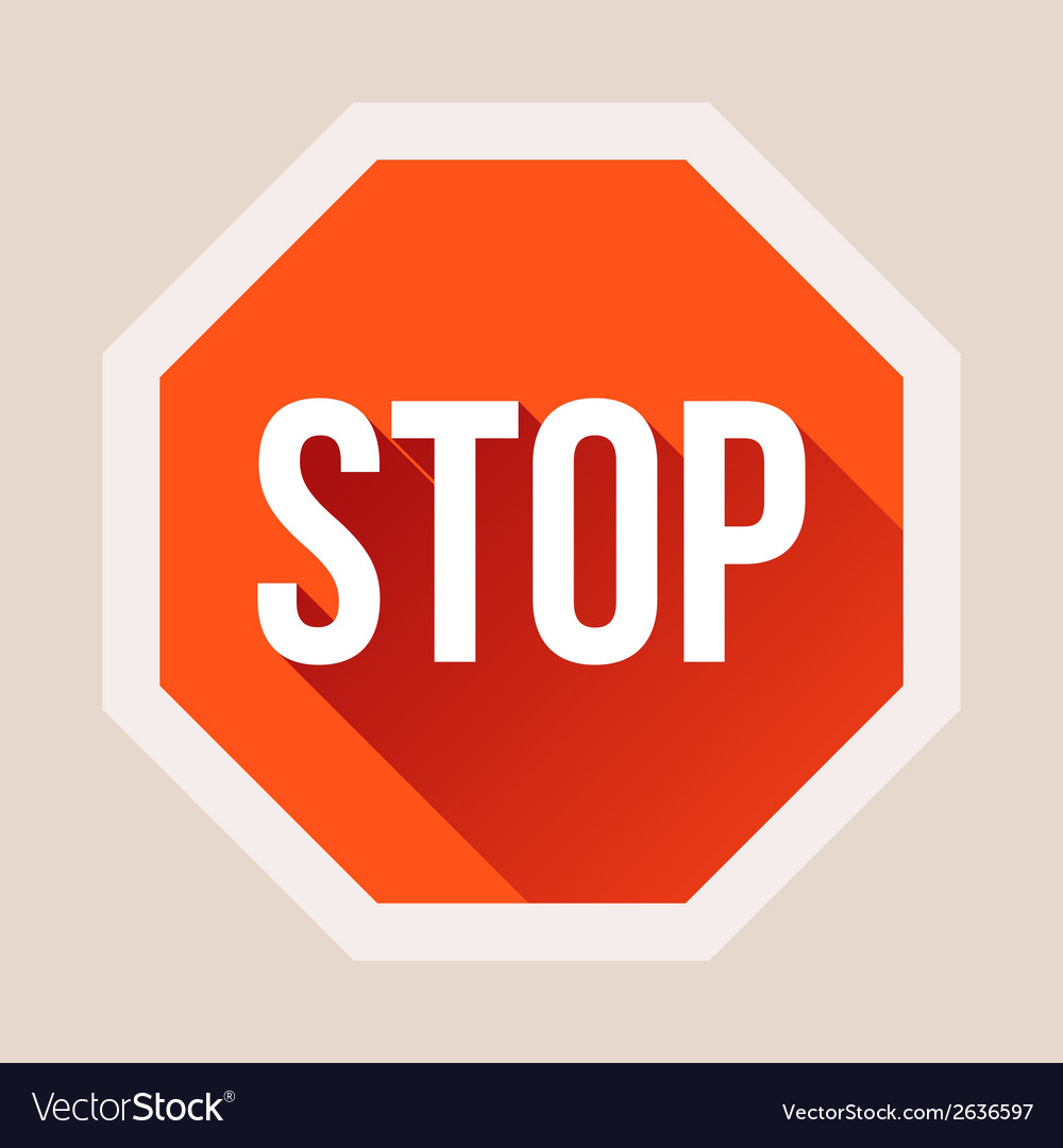 Stop sign with long shadow in flat style vector