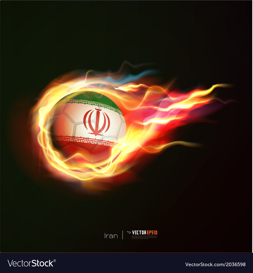 Iran flag with flying soccer ball on fire vector