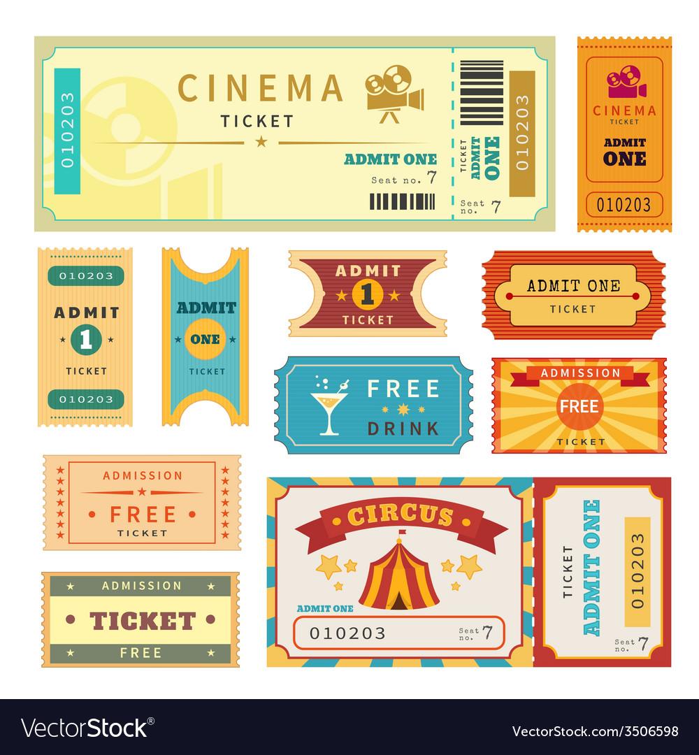 Retro tickets set vector