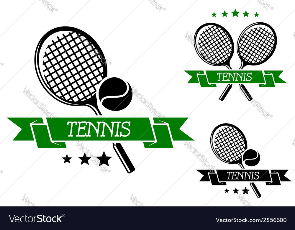 Big tennis sporting emblem vector