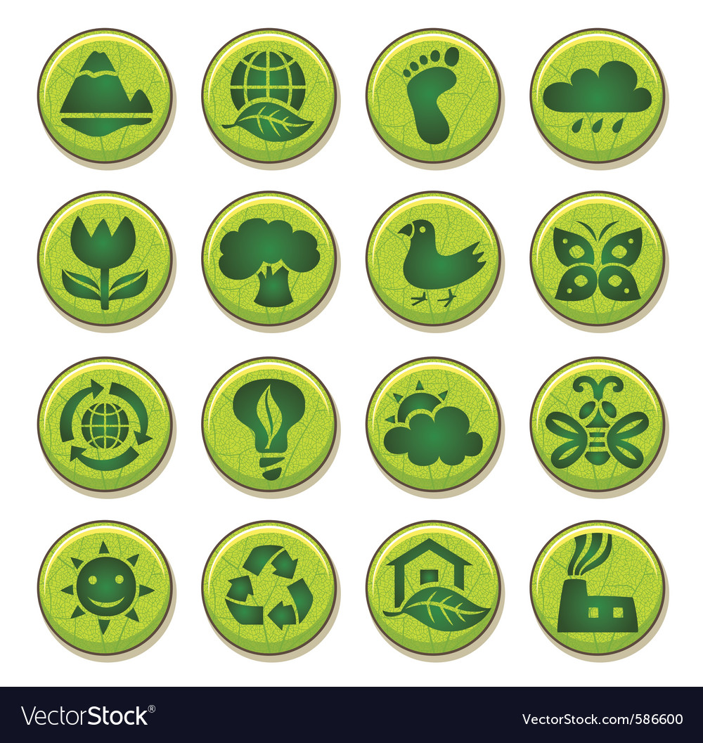 Wooden environment icons vector