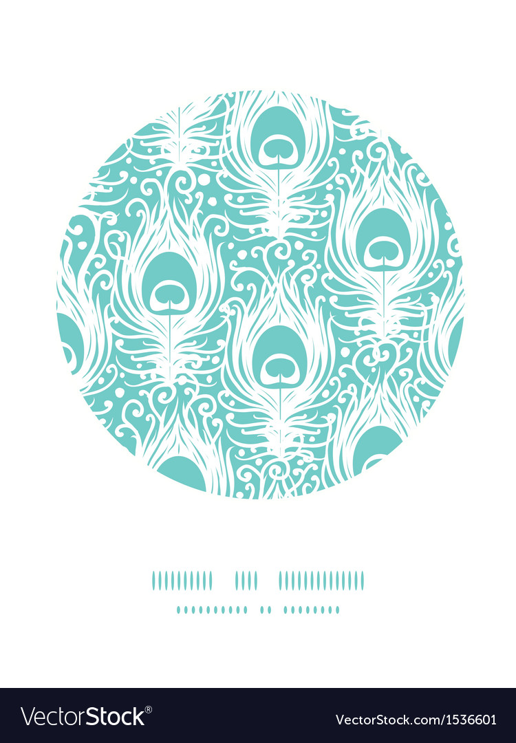 Soft peacock feathers circle decor pattern vector