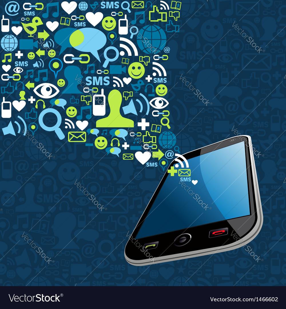 Smartphone social icons vector