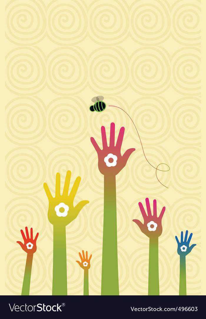 Floral hand with flying bee vector