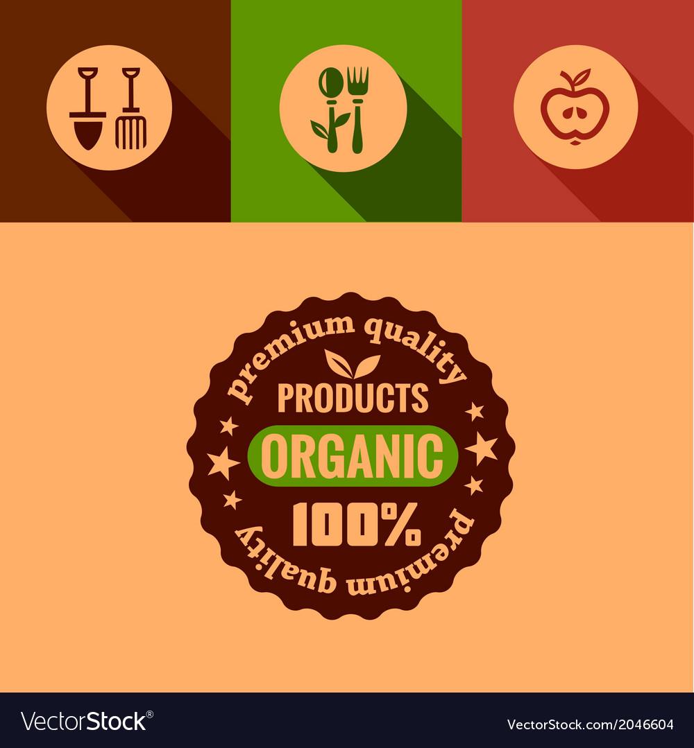 Flat organic products design elements vector