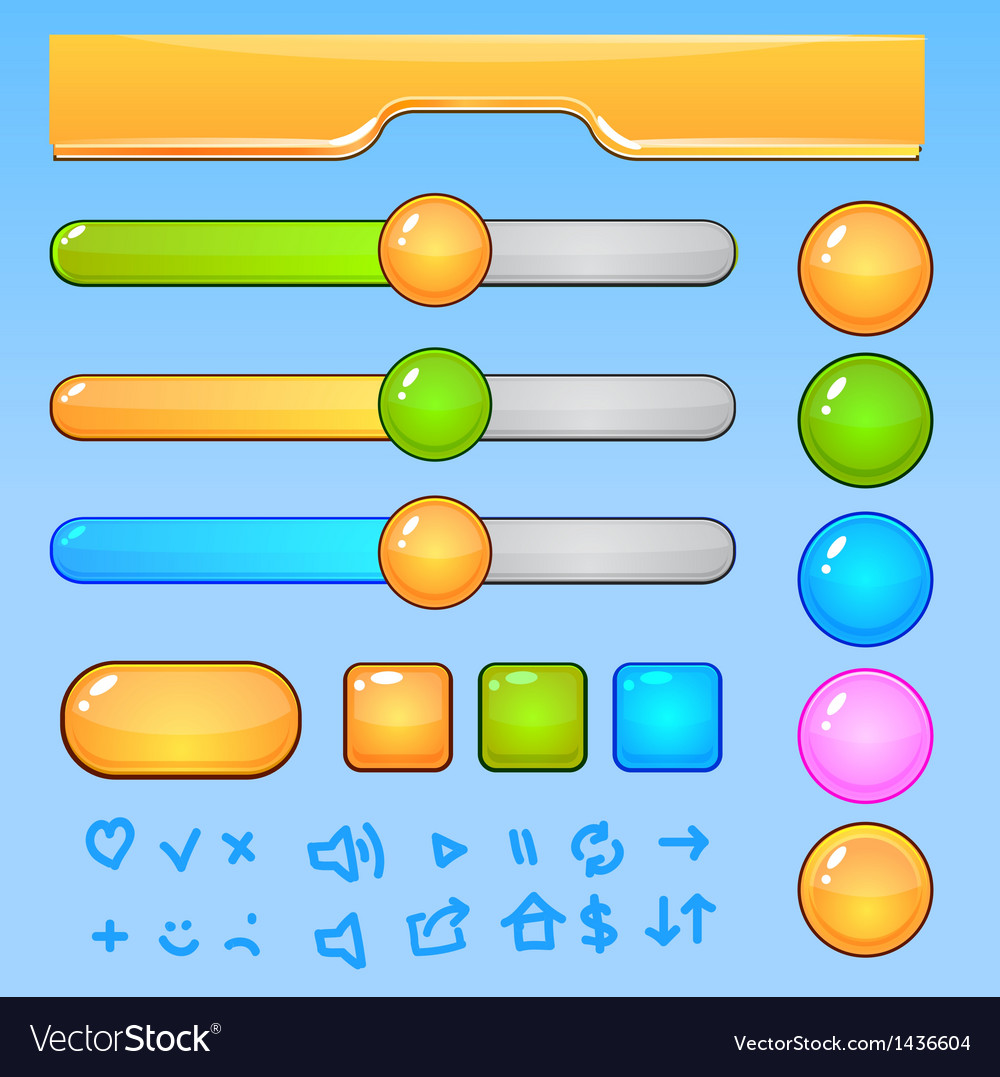 Game ui elementscolorful buttons and icons vector