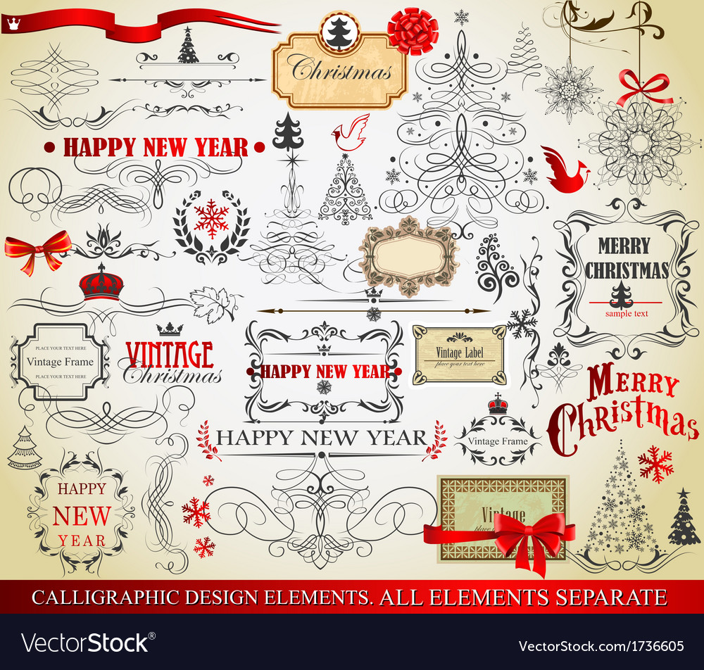 Christmas calligraphic elements vector