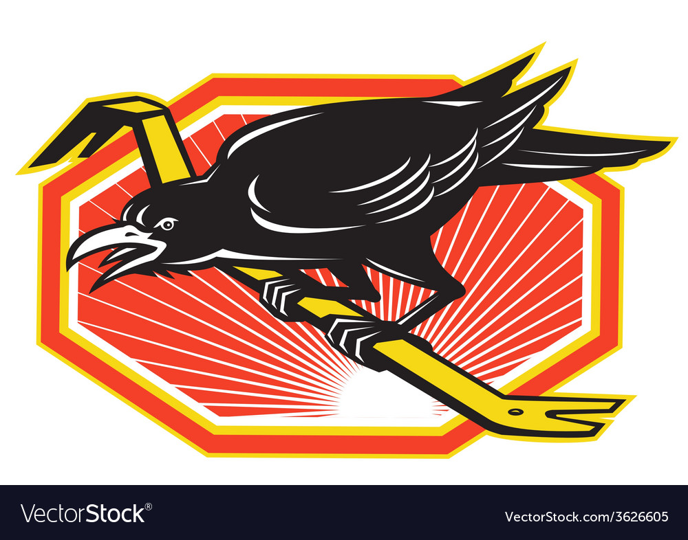 Crow perching on crowbar retro vector