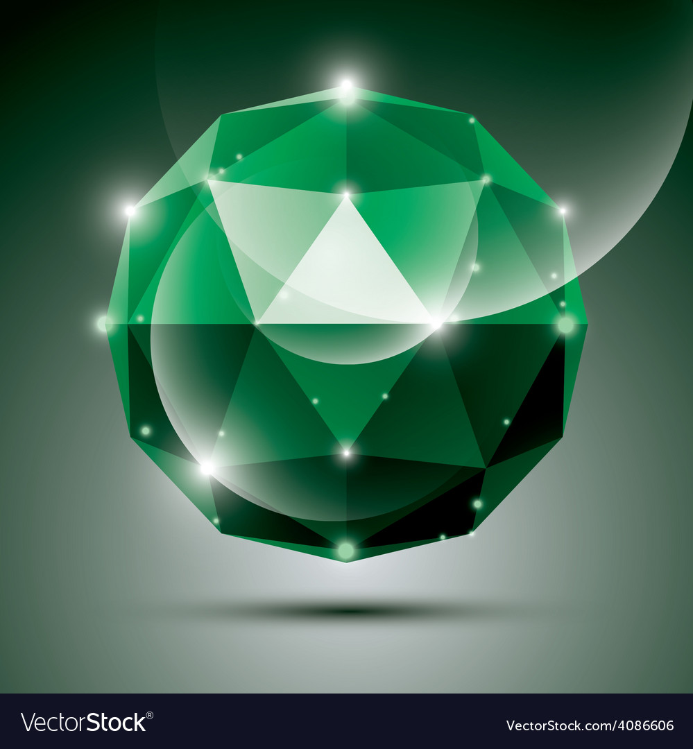 Abstract 3d emerald shiny sphere with sparkles vector