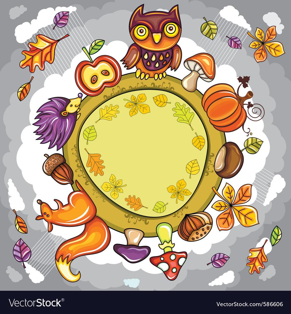 Autumn round planet vector