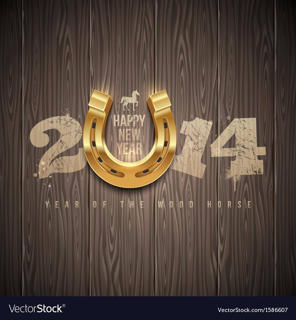 New 2014 year holidays design horseshoe vector