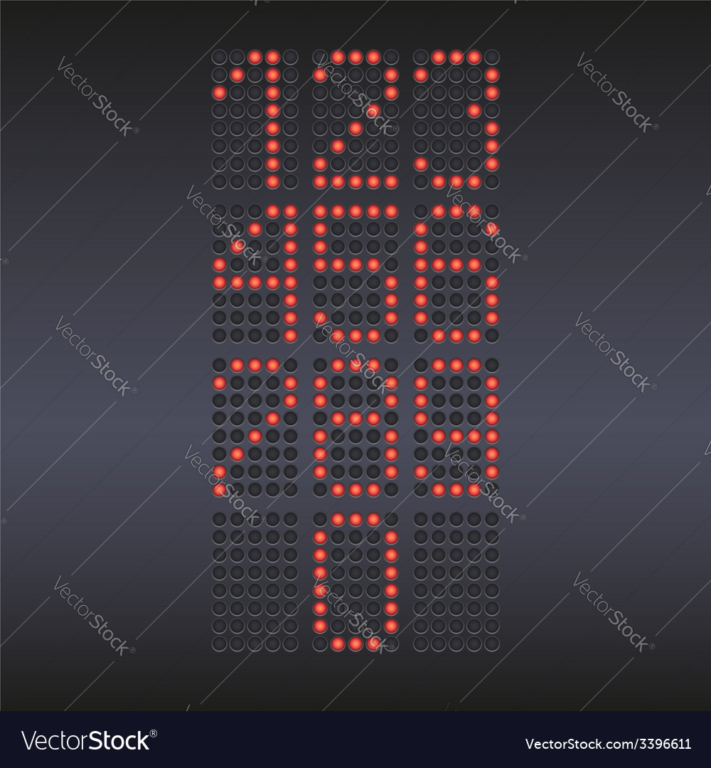 Colorful red led display with numbers vector