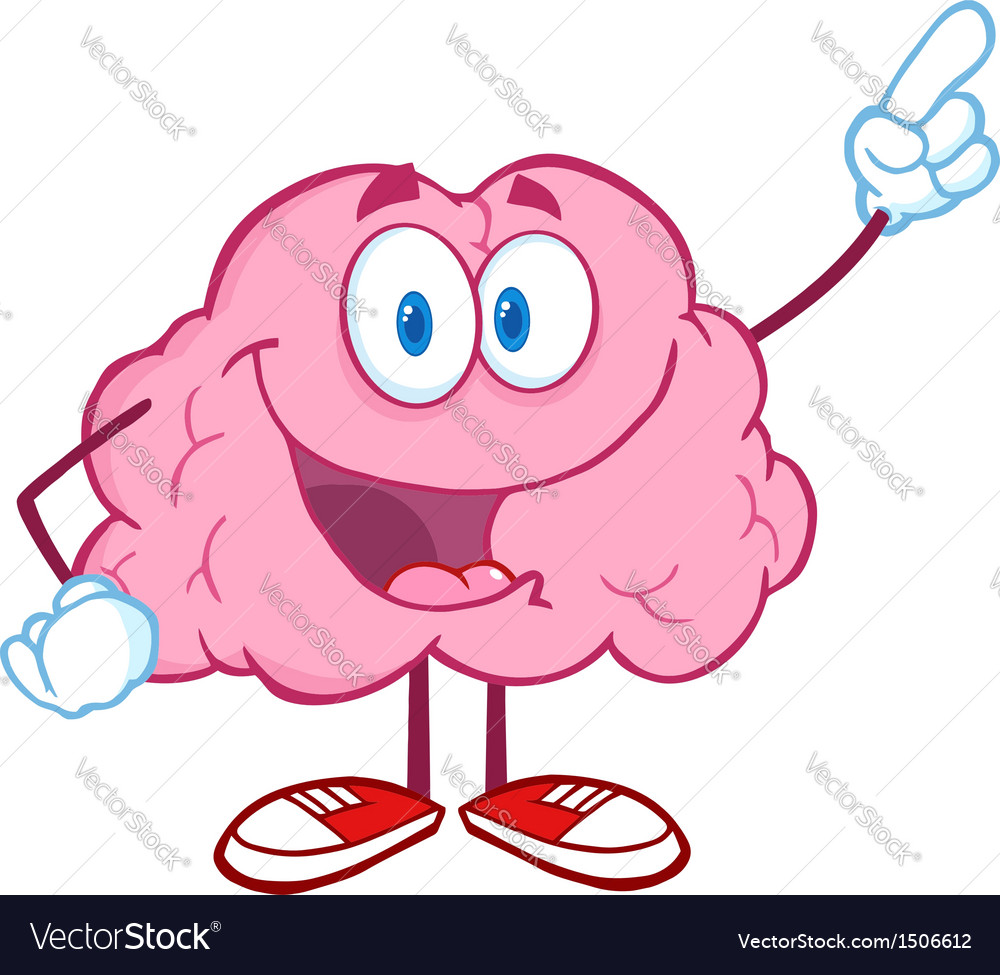Brain character pointing with a finger vector