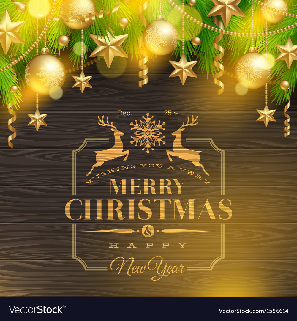 Christmas holidays greeting emblem and decor vector