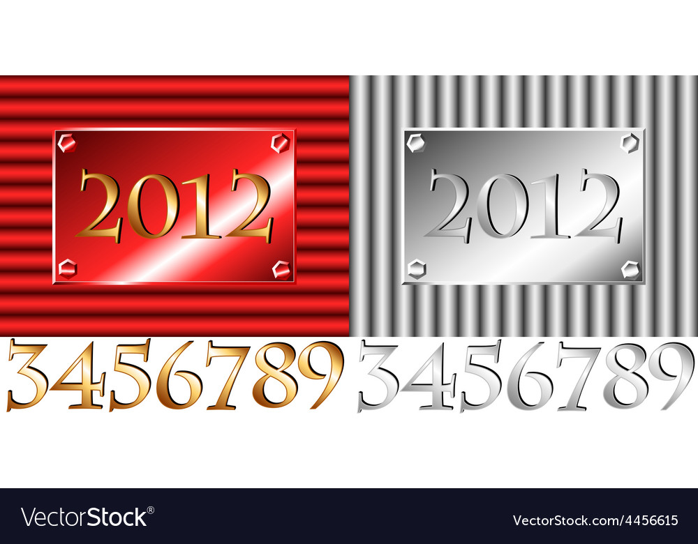 Corrugated 2012 plate with other numbers vector