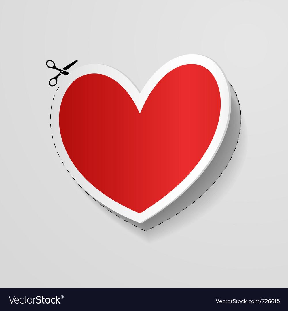 Cut heart shaped sticker vector