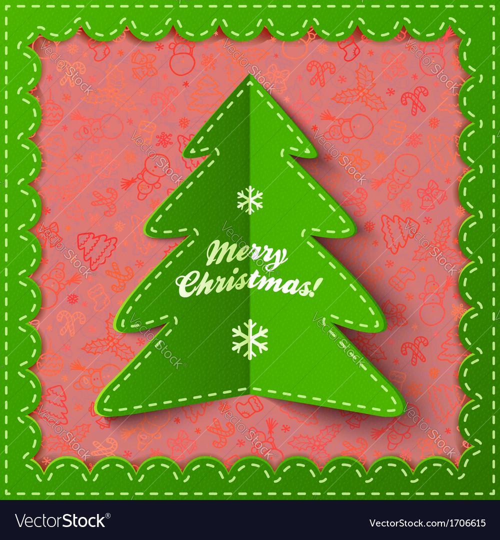 Green textile applique christmas tree vector
