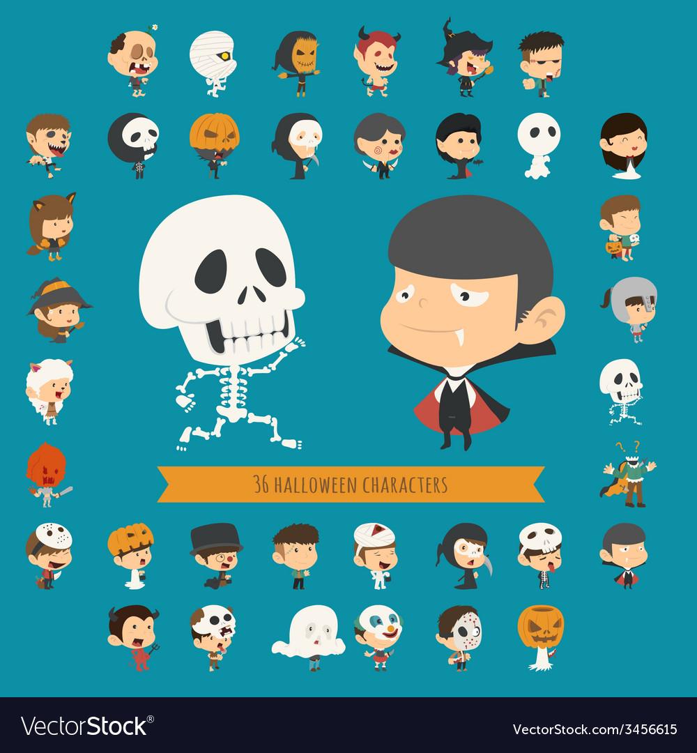 Set of 40 halloween costume characters vector