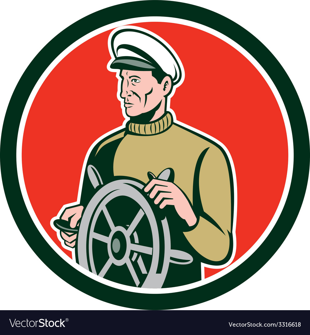 Fisherman sea captain wheel circle retro vector
