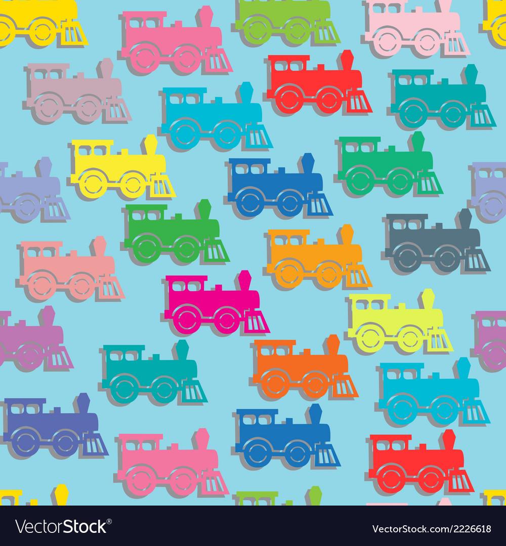 Steam colorful locomotives vector