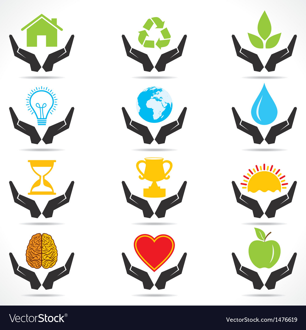 Conceptual hand icon with different object icons vector
