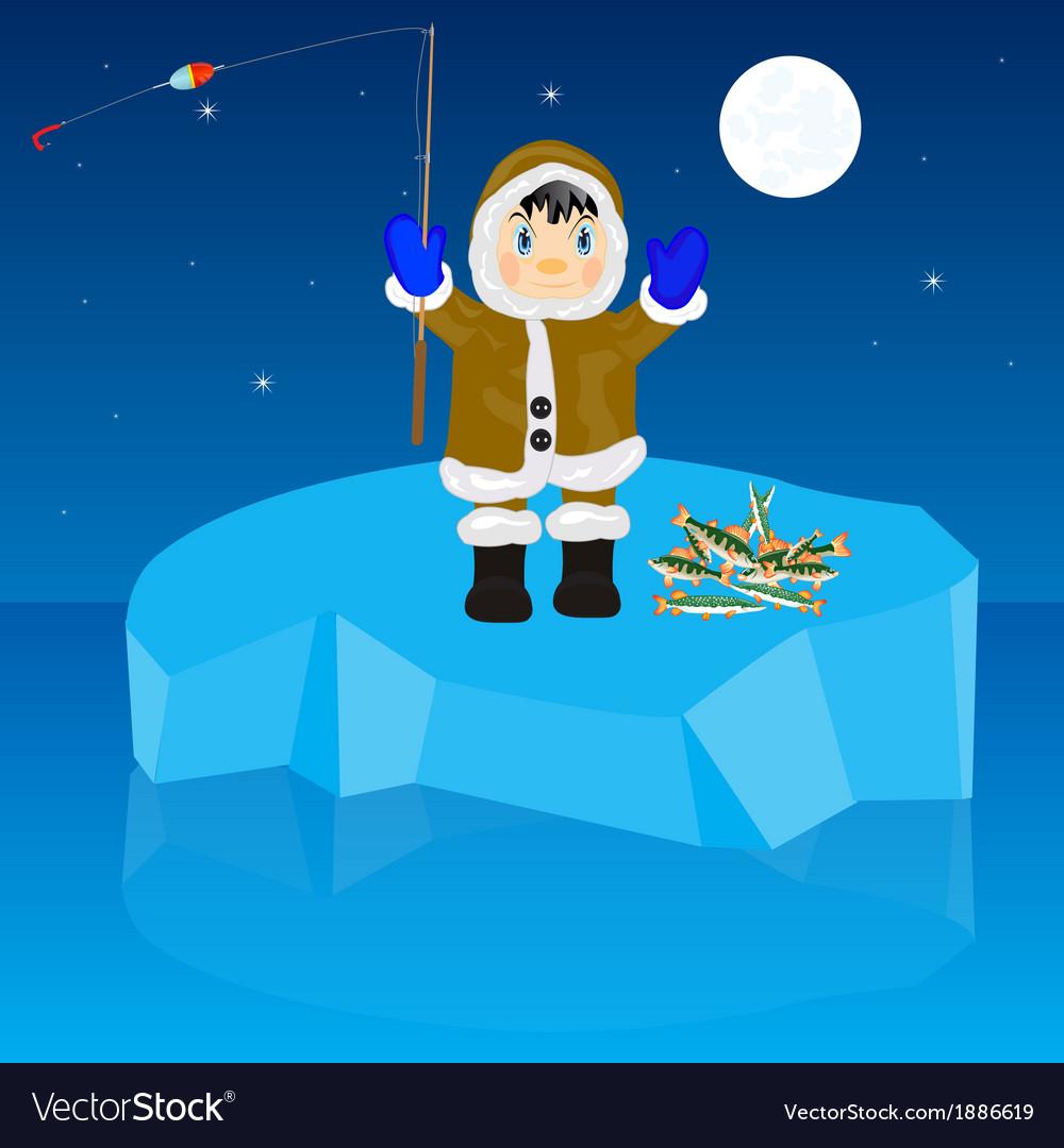 Fisherman on block of ice vector