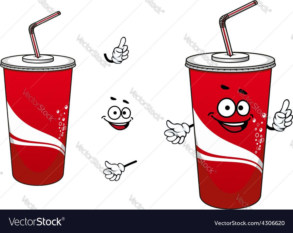 Cola or soda paper cup cartoon character vector