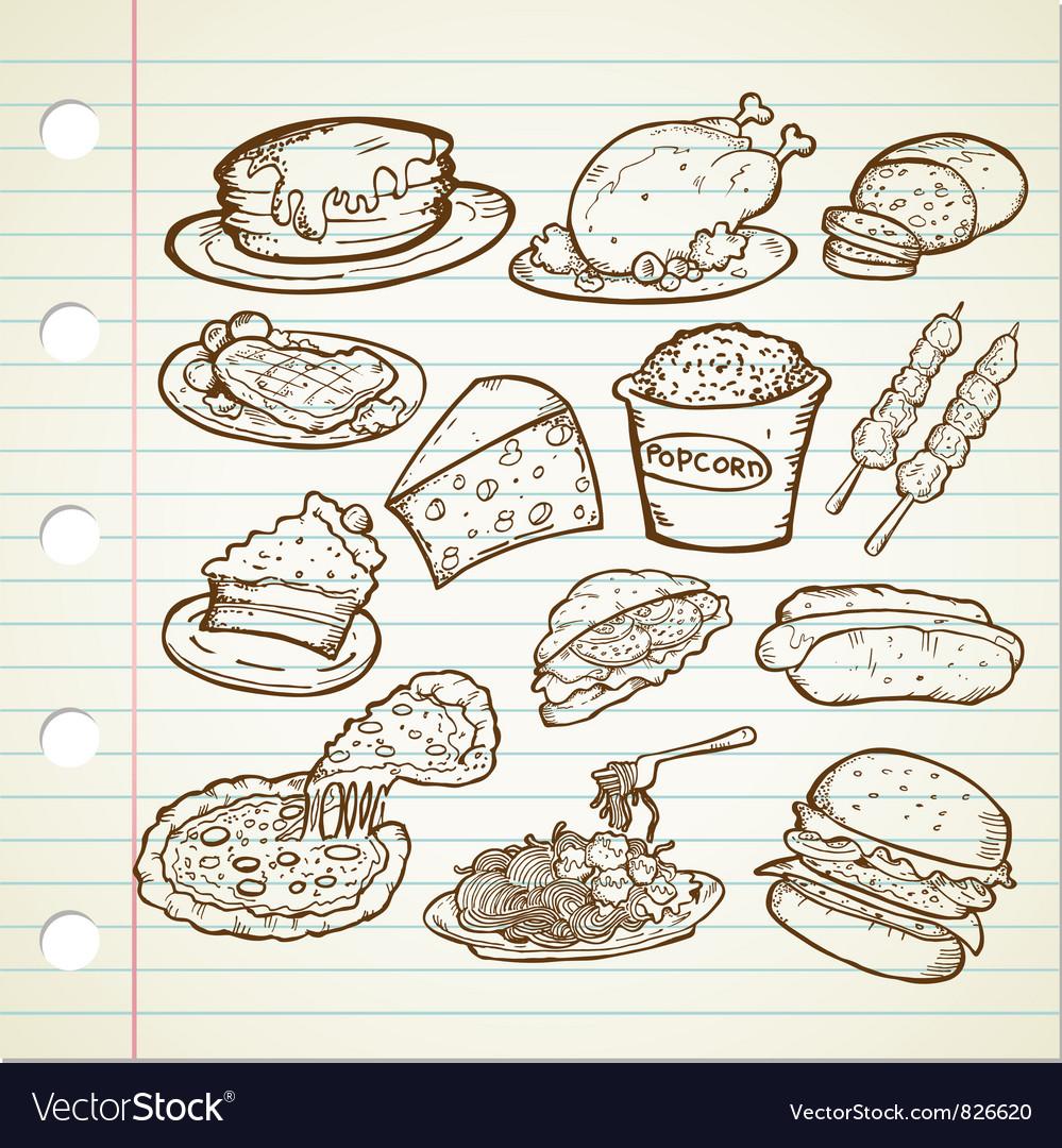 Junk food doodles vector