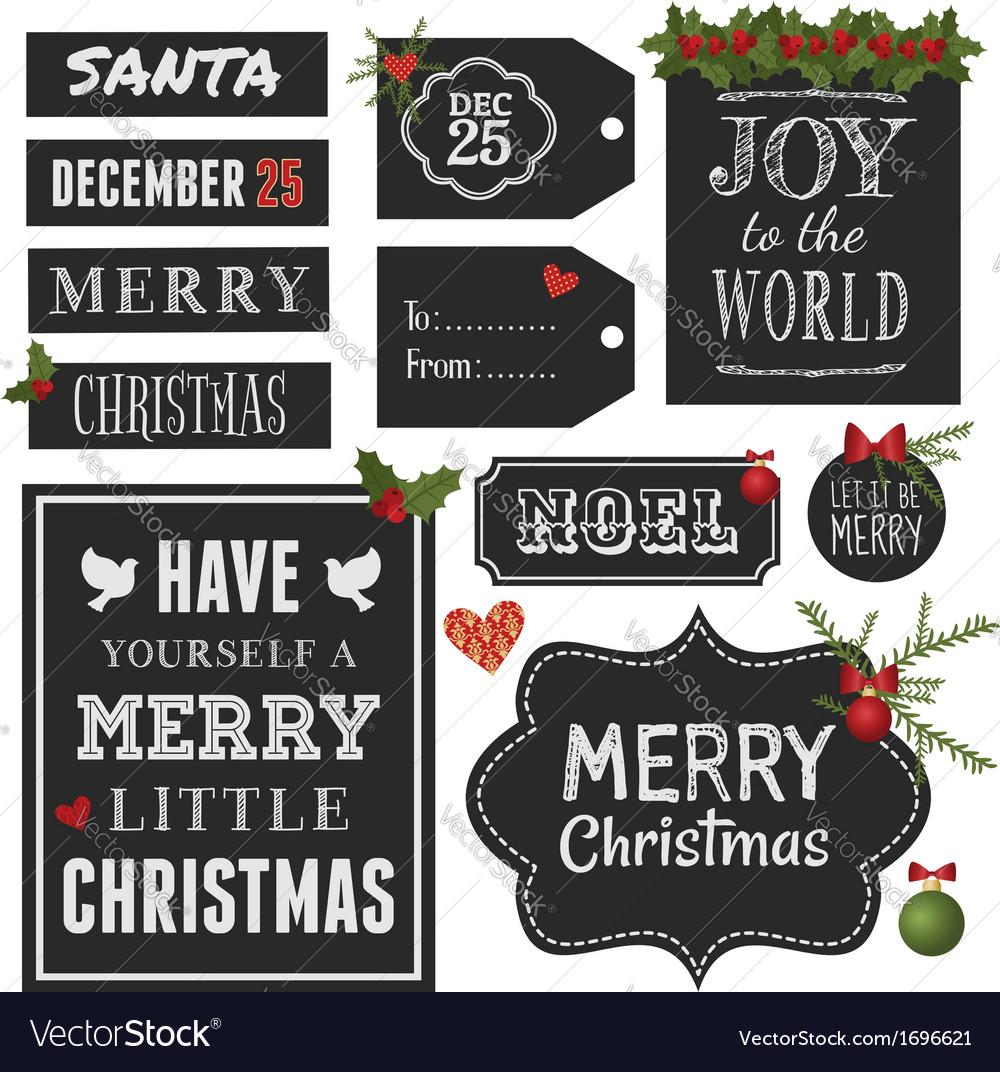 Chalkboard style christmas retro design elements vector
