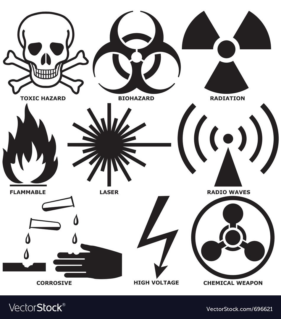 Warning and hazard symbols vector