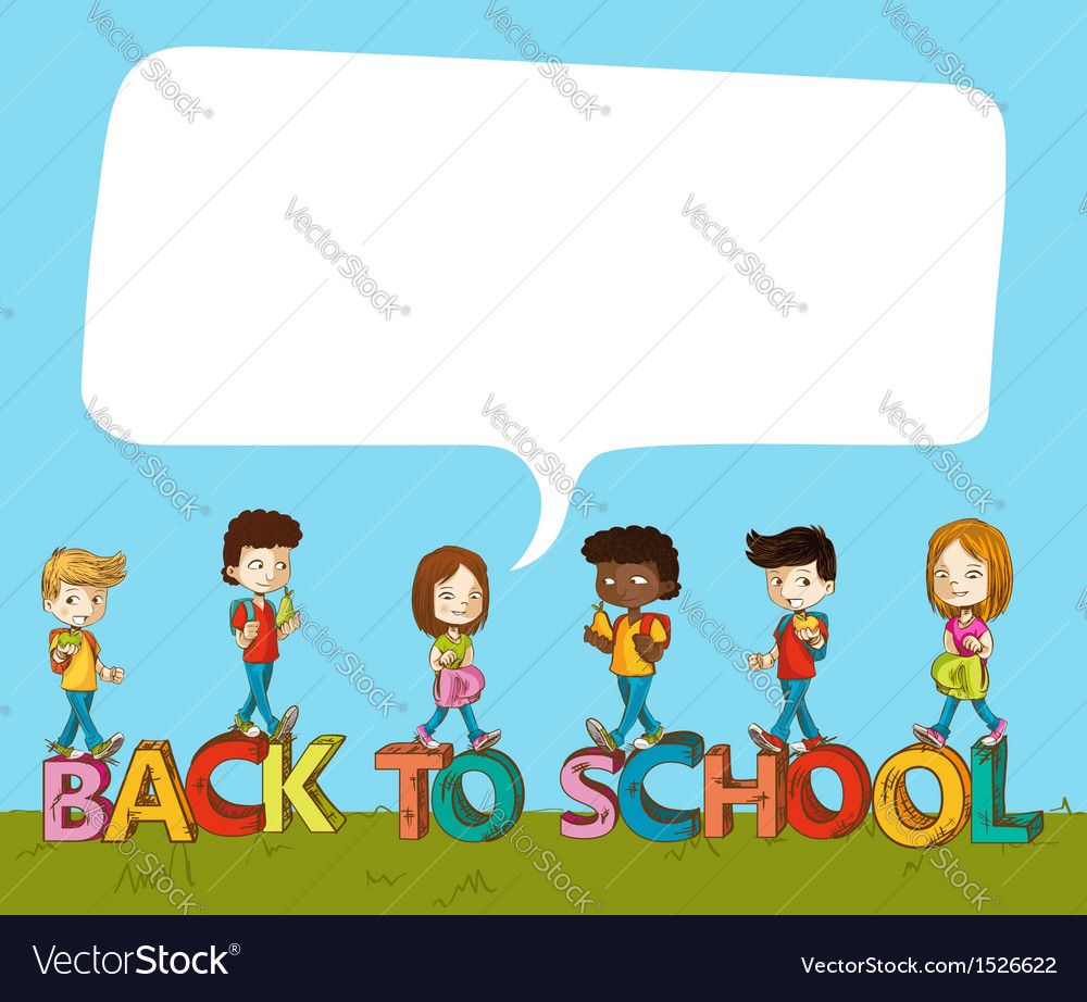 Back to school kids over text with social bubble vector