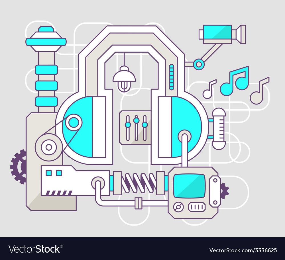 Industrial of the mechanism of headphone co vector