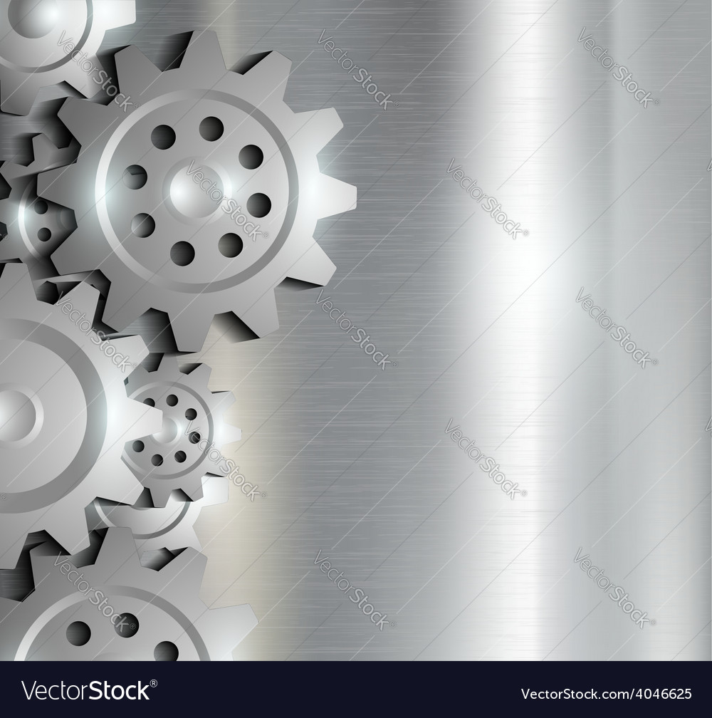 Metal background with gears vector