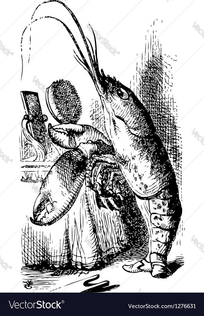 Lobster alices adventures vector