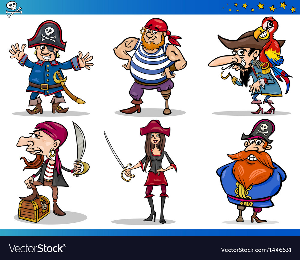 Pirates cartoon characters set vector