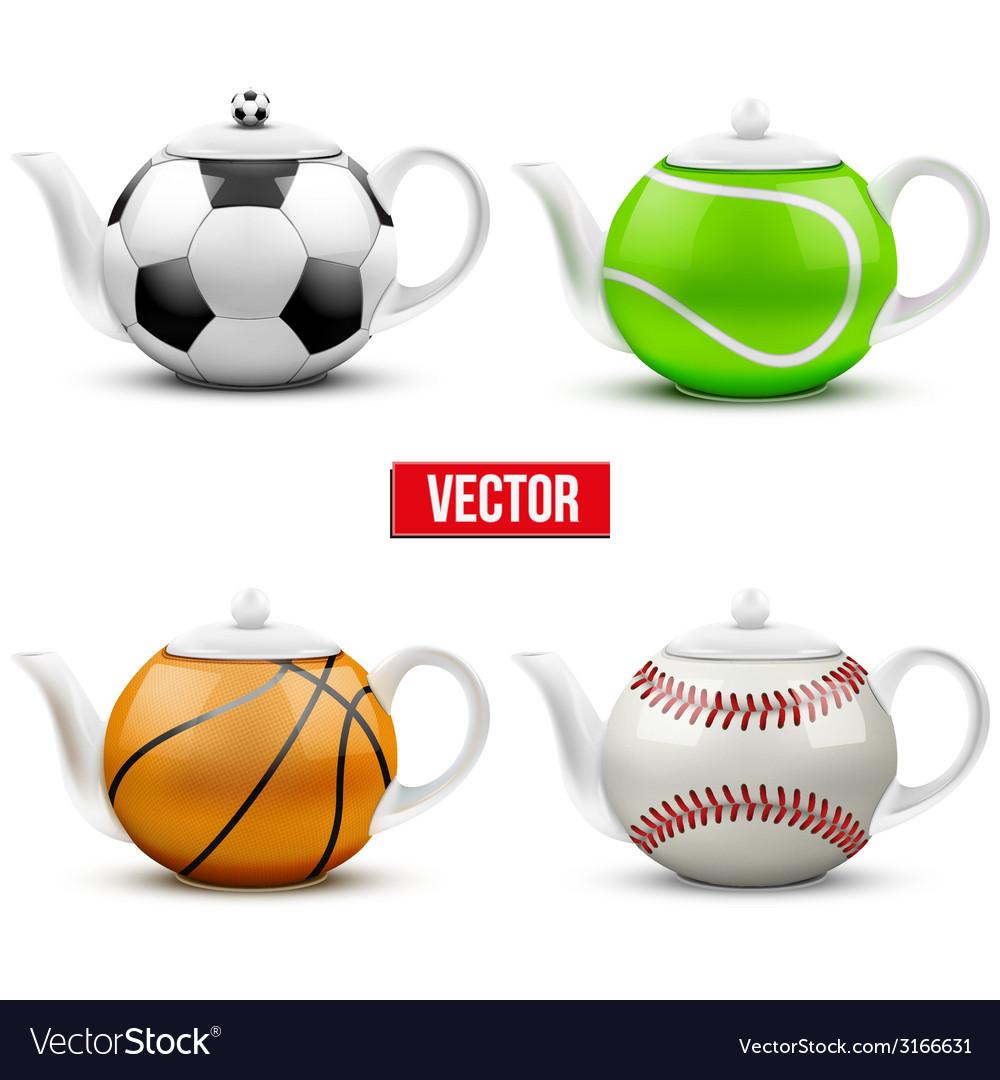 Set of different ceramic teapots in form balls vector